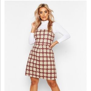 Boohoo Plus Check Button Detail Pinafore Dress